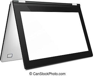 modern, umwandelbar, laptop, mit, leerer schirm