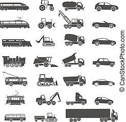 modern, und, retro, transport, silhouetten, sammlung, freigestellt, weiß