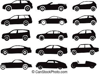 modern, und, weinlese, autos