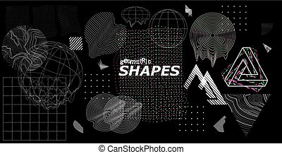 Modern universal trendy shapes, with glitch effects. Cyberpunk retro futurism set, vaporwave. Abstract digital elements for web banner, posters, covers design, futuristic Memphis. Vector illustration