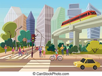 Modern urban cartoon city street with young people walking vector illustration.