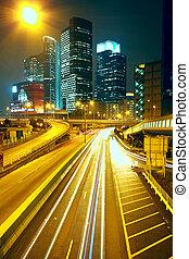 modern urban city at night