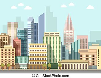 Modern urban city landscape vector flat day panorama buildings