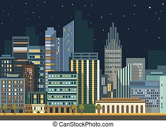 Modern urban city landscape vector flat night panorama buildings