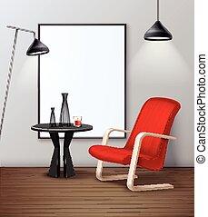 Modern Urban Interior Mockup Realistic Poster