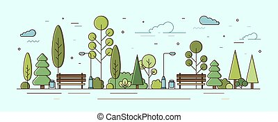 Modern urban landscape. Municipal park or communal garden with green trees, bushes, street lights and benches. City recreational area or natural zone. Colorful vector illustration in linear style.