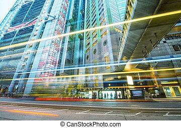 modern, város, épületek, noha, felhőkarcoló, és, forgalom, mint, látott, alapján