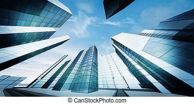 modern, város, belvárosi