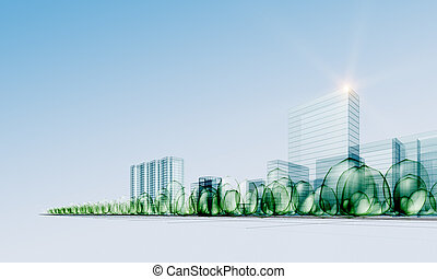 modern, város