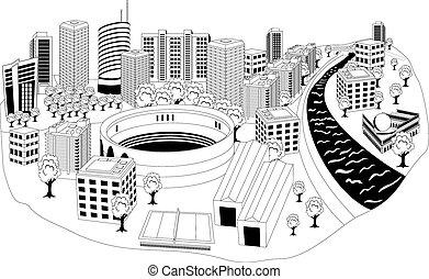modern, város, metropolis