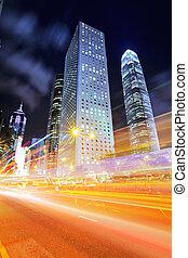 modern, város, noha, autó csillogó