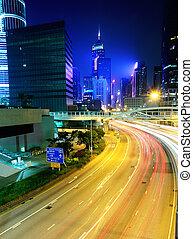 modern, város, noha, forgalom, éjjel