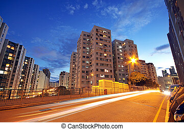 modern, városi, város, noha, autópálya, forgalom, éjjel,...