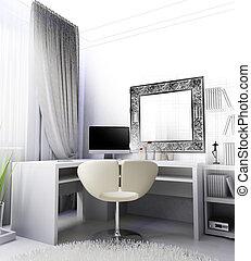 modern, vakolás, workplace, belső, otthon, 3