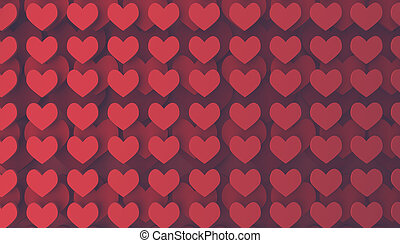 Modern Valentines Day background with stackes heart shapes