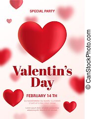 Modern Valentine's Day Party Flyer. Poster with blurry...