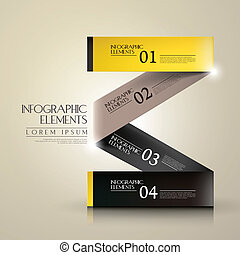 3d paper infographic elements