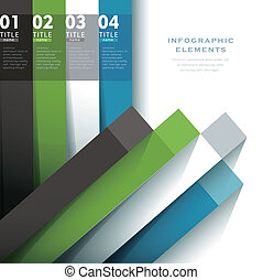 abstract 3d paper infographic elements