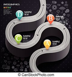 vector abstract 3d technology grey road infographic elements