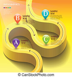 vector abstract 3d yellow road infographic elements
