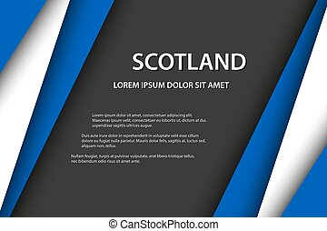 Modern vector background, overlayed sheets of paper in the look of the Scottish flag, Made in Scotland, Scottish colors and grey free space for your text