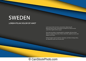 Modern vector background with Swedish colors and grey free space for your text, overlayed sheets of paper in the look of the Swedish flag, Made in Sweden