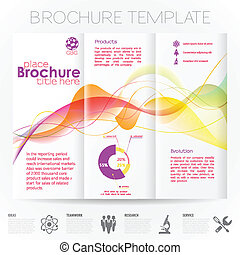 Modern Vector Brochure Design Template with Wave Pattern, Collect Icons and Graphs.