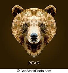 Modern vector brown bear in polygonal style.
