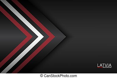 Modern vector colorful arrows with Latvian colors and grey free space for your text, abstract widescreen background, Made in Latvia