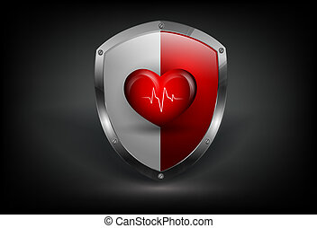 vector colorful shield with heart and pulse - modern vector...