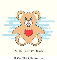 Modern vector cute teddy bear