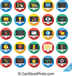 Modern Vector Flat Icons Set 16