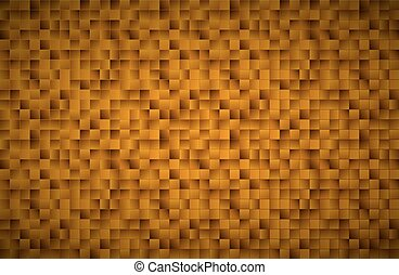 Modern vector golden mosaic pattern, gold squares with shadows