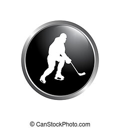 Modern vector hockey logo. logo for hockey team. silhouette of a hockey player