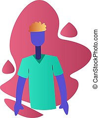 Modern vector illustration of a ward boy in medical shirt on a white background