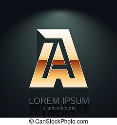 Modern Vector Illustration of Gold Letter A Template for Company Logo, your Design Element, or Icon.