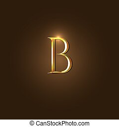 Modern Vector Illustration of Gold Letter B Template for...