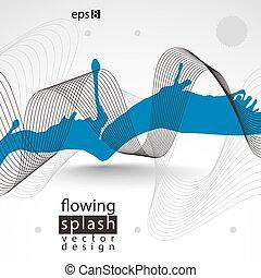 Modern vector inky wallpaper, eps8 flowing lines, ephemeral...