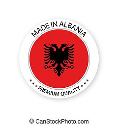 Modern vector Made in Albania label isolated on white background, simple sticker with Albanian colors, premium quality stamp design, flag of Albania
