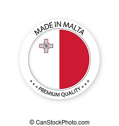 Modern vector Made in Malta label isolated on white background, simple sticker with Maltese colors, premium quality stamp design, flag of Malta