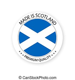 Modern vector Made in Scotland label isolated on white background, simple sticker with Scottish colors, premium quality stamp design, flag of Scotland
