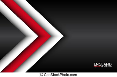 Modern vector overlayed arrows with English colors and grey free space for your text, overlayed sheets of paper in the look of the English flag, Made in England, abstract widescreen background