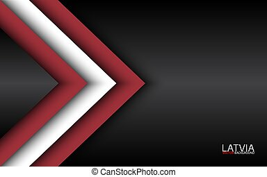 Modern vector overlayed arrows with Latvian colors and grey free space for your text, overlayed sheets of paper in the look of the Latvian flag, Made in Latvia, abstract widescreen background