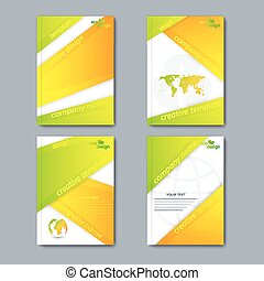 Modern vector set of brochures in the ecology style for your design