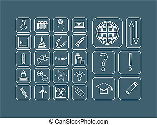 Modern vector set of thin line icons for science