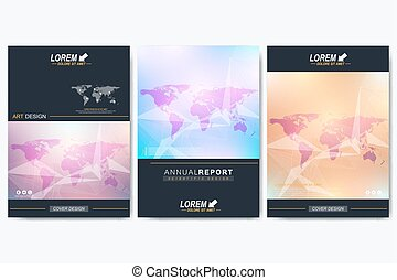 Modern vector template for brochure, Leaflet, flyer, advert, cover, catalog, magazine or annual report. Geometric background communication with Political World Map. Lines plexus. Card surface.