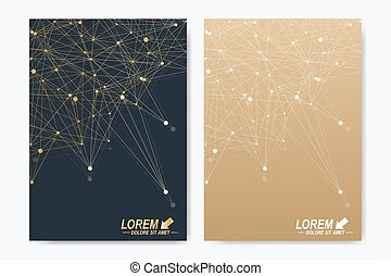Modern vector template for brochure, Leaflet, flyer, advert, cover, catalog, magazine or annual report. A4 size. Business, science, medical design. Golden cybernetic dots. Lines plexus. Card surface.