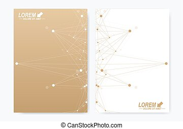 Modern vector template for brochure Leaflet flyer advert cover magazine or annual report. A4 size. Business, science, medical design book layout. Golden cybernetic dots. Lines plexus. Card surface.