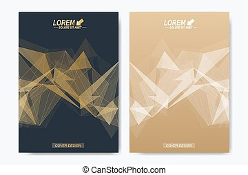 Modern vector template for brochure, Leaflet, flyer, advert, cover, catalog, magazine or annual report. Geometric background communication. Scientific particle compounds. Lines plexus. Card surface.