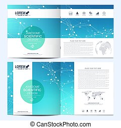 Modern vector template for square brochure, leaflet, flyer, cover, catalog, magazine, annual report. Business, science and technology design book layout. Graphic background molecule and communication.